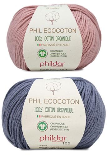 Phil Ecocoton Kindertrui Breipakket 1 8 jaar Jeans / Aubergine