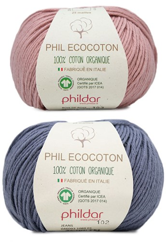 Phil Ecocoton Kindertrui Breipakket 1 10 jaar Jeans / Aubergine