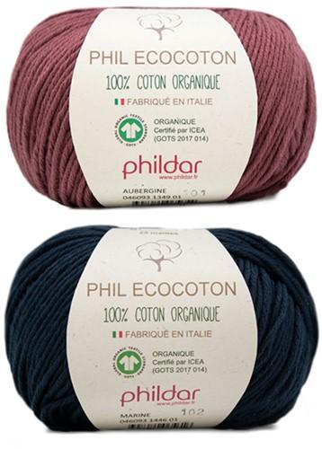 Phil Ecocoton Kindertrui Breipakket 2 10 jaar Bois de Rose / Jeans