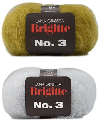 Brigitte no. 3 Omslagdoek Breipakket 3 Olive/Silver-Grey