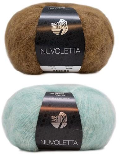 Nuvoletta Raglanmantel Breipakket 1 Camel/Turquoise 48/50