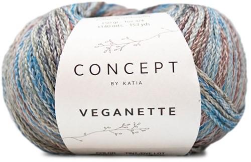 Veganette Omslagdoek Breipakket 1 Wine Red / Stone Grey / Blue