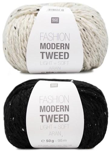 Fashion Modern Tweed Strepentrui Breipakket 1 44/46 Creme / Black