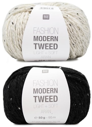 Fashion Modern Tweed Strepentrui Breipakket 1 36/38 Creme / Black