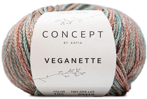 Veganette Omslagdoek Breipakket 2 Rust Brown / Brown / Green-Blue