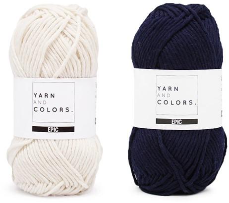 Yarn and Colors Striped Jumper Reversed Breipakket 3 L Dark Blue