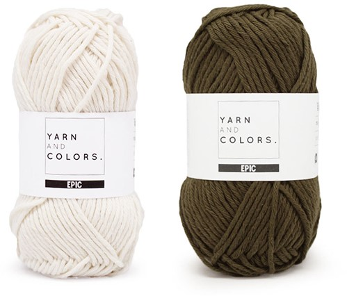 Yarn and Colors Striped Jumper Reversed Breipakket 4 L Khaki