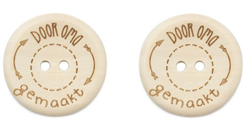 Durable Houten Knopen Door Oma Gemaakt 30mm 2 stuks