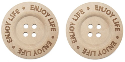 Durable Houten Knopen Enjoy Life 40mm 2 stuks