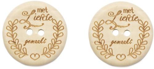 Durable Houten Knopen Met Liefde Gemaakt 30mm 2 stuks