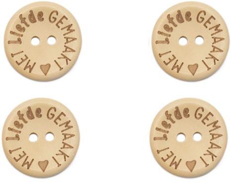 Durable Houten Knopen Met Liefde Gemaakt 20mm 4 stuks