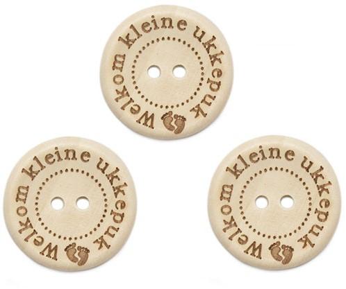 Durable Houten Knopen Welkom Kleine Ukkepuk 25mm 3 stuks