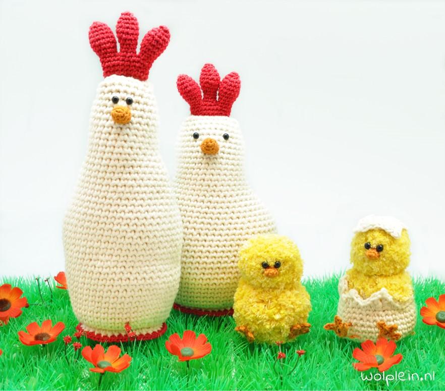 Haken voor Pasen: een gezellige kippenfamilie