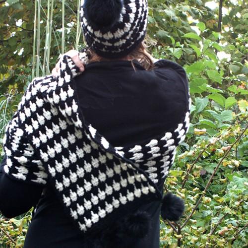 Haakpatroon Pied-de-poule sjaal en muts