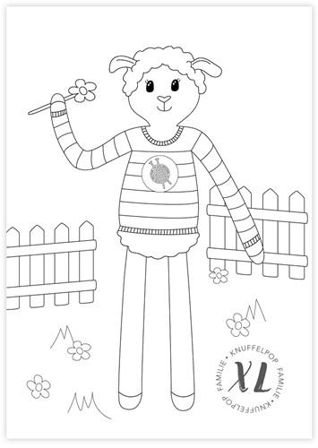 Kleurplaat Wolplein XL Knuffelpop - Schaapje Sara