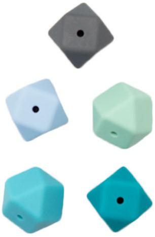 Durable Siliconen Hexagonkralen 5 stuks Blauw
