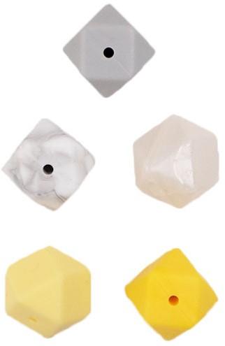 Durable Siliconen Hexagonkralen 5 stuks Geel