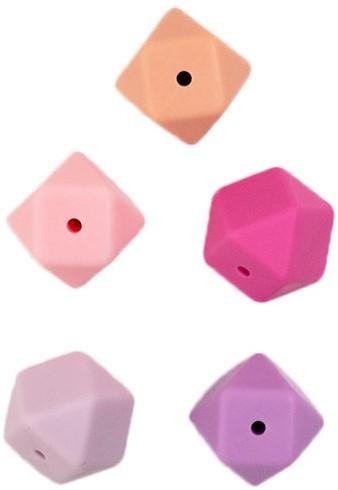 Durable Siliconen Hexagonkralen 5 stuks Roze