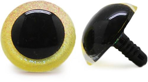 Plastic Veiligheidsogen Sparkle Geel (per paar) 24mm