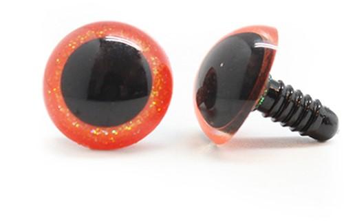 Plastic veiligheidsogen sparkle 003 Oranje 16mm