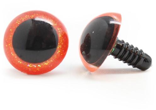 Plastic Veiligheidsogen Sparkle Oranje (per paar) 18mm