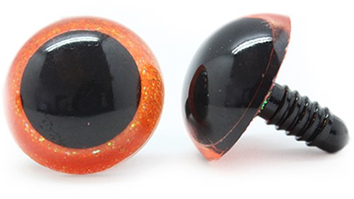 Plastic veiligheidsogen sparkle 003 Oranje 24mm