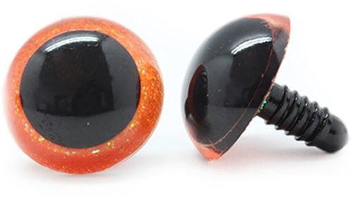 Plastic veiligheidsogen sparkle 003 Oranje 30mm