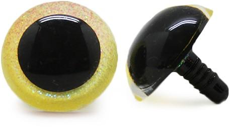 Plastic Veiligheidsogen Sparkle Geel (per paar) 21mm
