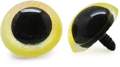 Plastic veiligheidsogen sparkle 010 Geel 30mm
