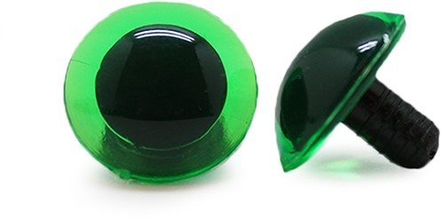 Veiligheidsogen Transparant Groen (per stuk) 16mm
