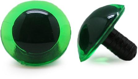Veiligheidsogen Transparant Groen (per stuk) 18mm