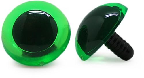 Veiligheidsogen Transparant Groen (per stuk) 24mm