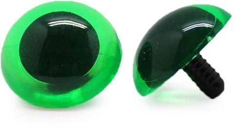 Veiligheidsogen Transparant Groen (per stuk) 30mm