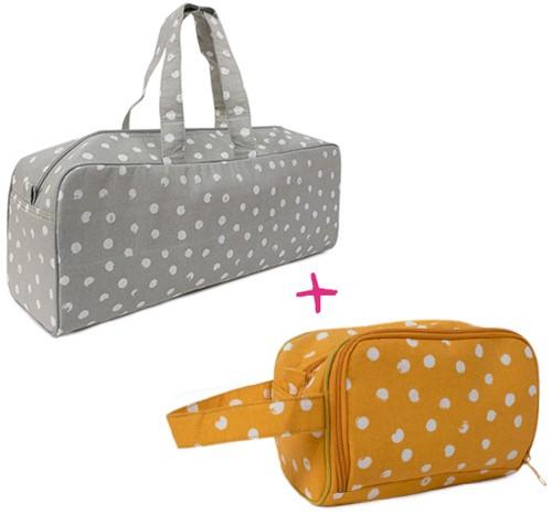 Wolplein Breitas en Haaketui Set 8 Grey Dots/Mustard Dots