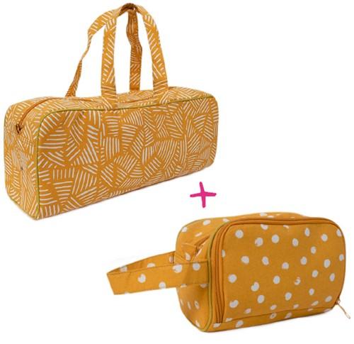 Wolplein Breitas en Haaketui Set 1 Mustard Stripes/Mustard Dots